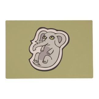 Diseño gris juguetón lindo del dibujo del elefante tapete individual