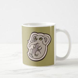 Diseño gris juguetón lindo del dibujo del elefante taza de café