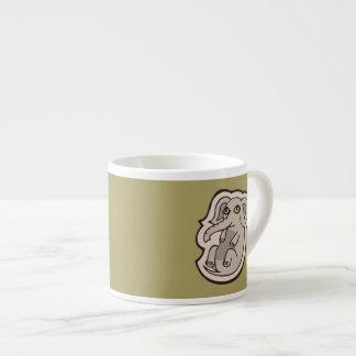 Diseño gris juguetón lindo del dibujo del elefante taza de espresso