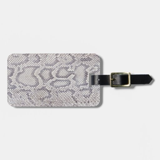 Diseño gris rosáceo pálido de la piel de serpiente etiquetas de maletas