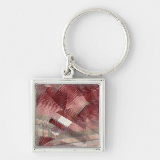 Diseño gris rosado rojo del modelo de las rayas de llavero cuadrado plateado