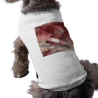Diseño gris rosado rojo del modelo de las rayas de camisetas de perrito