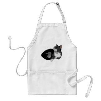 Diseño gris y blanco negro del gato de los arty delantal