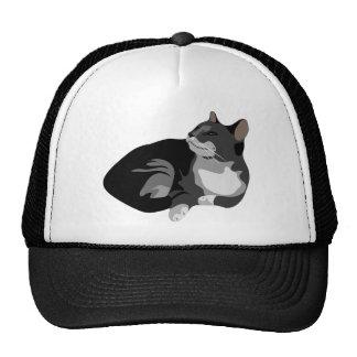 Diseño gris y blanco negro del gato de los arty gorra