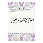 diseño gris y poner crema púrpura real del damasco invitación 8,9 x 12,7 cm