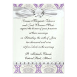 diseño gris y poner crema púrpura real del damasco invitación 13,9 x 19,0 cm