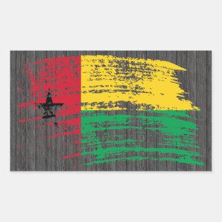 Diseño guineano fresco de la bandera pegatina rectangular