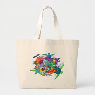 Diseño hawaiano de la tortuga bolsa tela grande