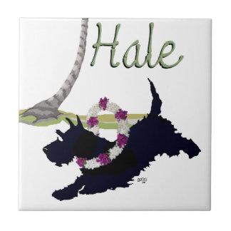 Diseño hawaiano de Terrier del escocés Azulejo Cuadrado Pequeño