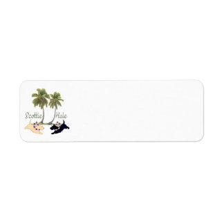 Diseño hawaiano de Terrier del escocés Etiqueta De Remite