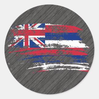 Diseño hawaiano fresco de la bandera pegatina redonda
