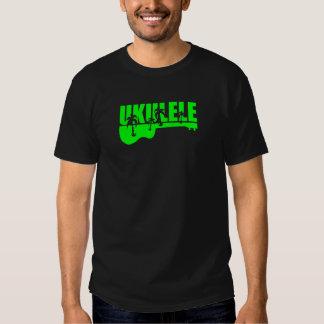 diseño hawaiano tropical verde del ukulele del uke remera