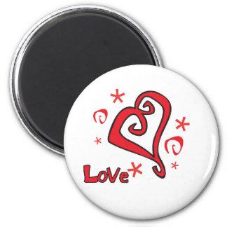 Diseño hermoso del día de San Valentín del corazón Imán Redondo 5 Cm