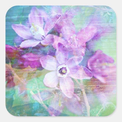 Diseño hermoso del grunge de las flores pegatina cuadrada