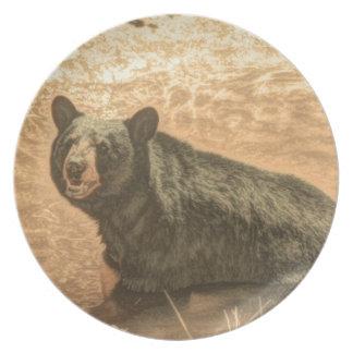 Diseño hermoso del oso negro platos de comidas