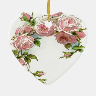 Diseño hermoso del rosa adorno navideño de cerámica en forma de corazón