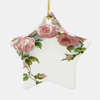 Diseño hermoso del rosa adorno navideño de cerámica en forma de estrella