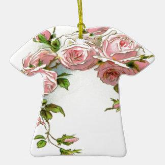 Diseño hermoso del rosa adorno navideño de cerámica en forma de playera