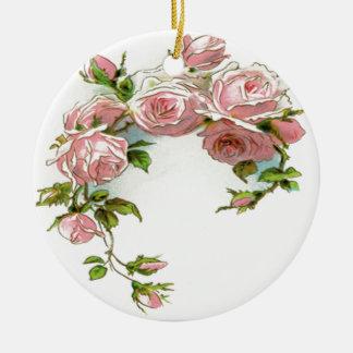 Diseño hermoso del rosa adorno navideño redondo de cerámica