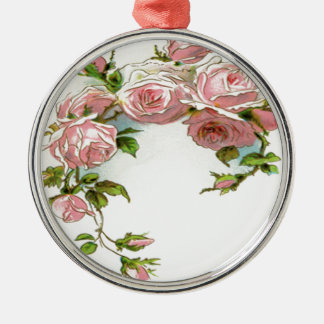 Diseño hermoso del rosa adorno navideño redondo de metal