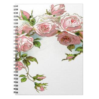 Diseño hermoso del rosa note book