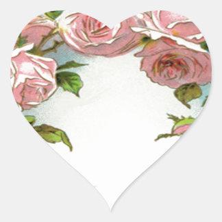Diseño hermoso del rosa pegatina en forma de corazón