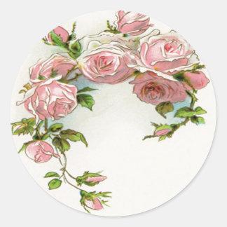 Diseño hermoso del rosa pegatina redonda