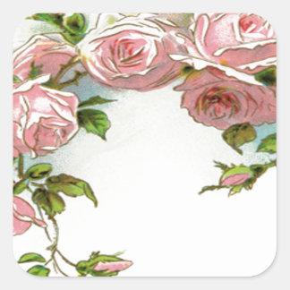 Diseño hermoso del rosa pegatina cuadrada