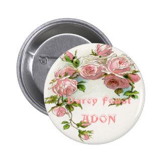 Diseño hermoso del rosa pin redondo de 2 pulgadas