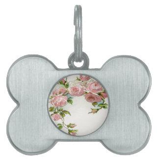 Diseño hermoso del rosa placa mascota