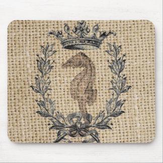 Diseño hermoso del seahorse en fondo de la arpille alfombrilla de ratón