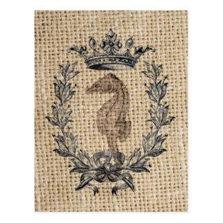 Diseño hermoso del seahorse en fondo de la arpille tarjetas postales