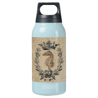 Diseño hermoso del seahorse en fondo de la botella isotérmica de agua