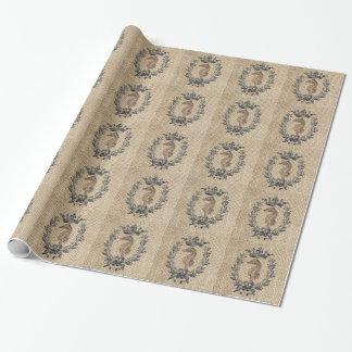 Diseño hermoso del seahorse en fondo de la papel de regalo
