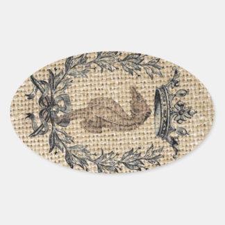 Diseño hermoso del seahorse en fondo de la pegatina ovalada