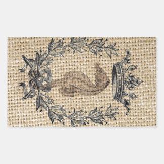 Diseño hermoso del seahorse en fondo de la pegatina rectangular