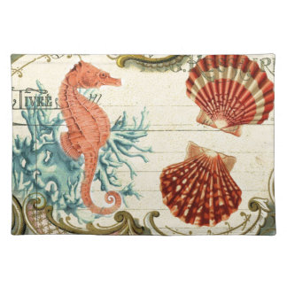 diseño hermoso del seahorse y del seashell manteles