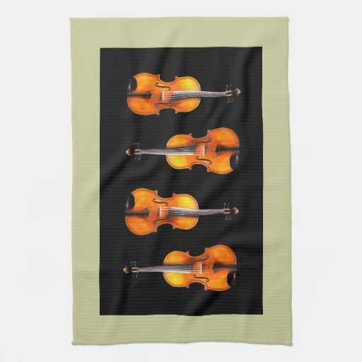 Diseño hermoso del violín/de la toalla de cocina d