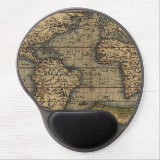 Diseño histórico del atlas del mapa del mundo del alfombrillas de ratón con gel