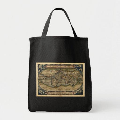 Diseño histórico del atlas del mapa del mundo del bolsa tela para la compra