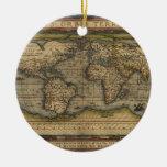 Diseño histórico del atlas del mapa del mundo del  adorno de navidad