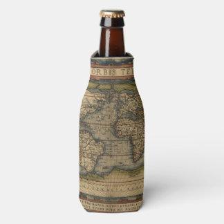 Diseño histórico del atlas del mapa del mundo del enfriador de botellas