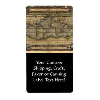 Diseño histórico del atlas del mapa del mundo del  etiqueta de envío