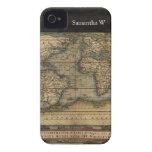 Diseño histórico del atlas del mapa del mundo del  iPhone 4 Case-Mate protector