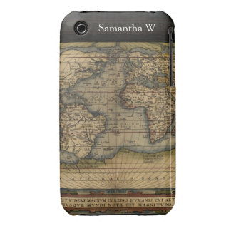 Diseño histórico del atlas del mapa del mundo del  iPhone 3 Case-Mate carcasa
