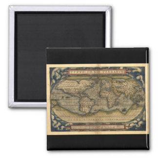 Diseño histórico del atlas del mapa del mundo del  imán de frigorifico