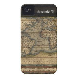 Diseño histórico del atlas del mapa del mundo del iPhone 4 carcasa