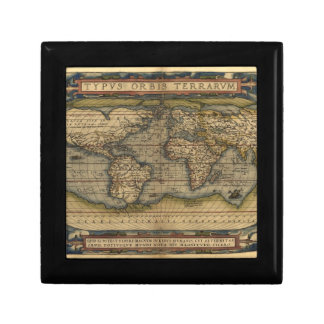 Diseño histórico del atlas del mapa del mundo del  joyero cuadrado pequeño