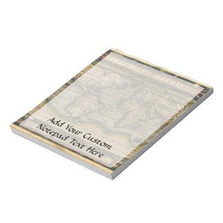 Diseño histórico del atlas del mapa del mundo del libreta para notas