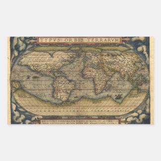 Diseño histórico del atlas del mapa del mundo del pegatina rectangular